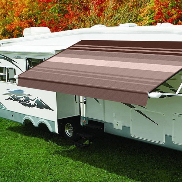 Carefree® QJ158A00 - Eclipse™ Power 15'L x 8'Ext  Sierra Brown Vinyl Power  Striped Patio Awning with White Weather Cover