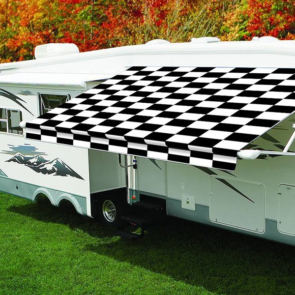 Carefree® - Eclipse™ Power 8'Ext. Checkered Patio Awning ...