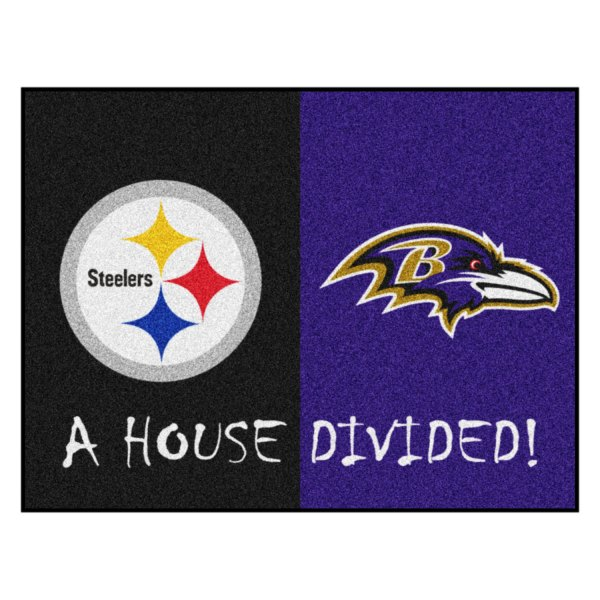 Fanmats 13535 Pittsburgh Steelers Baltimore Ravens Logo 33 75 X42 5 Nfl House Divided Floor Mats Camperid Com