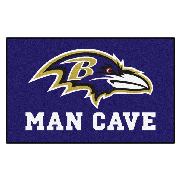Fanmats 14270 Baltimore Ravens Logo On Man Cave Ultimat Floor Mat Camperid Com