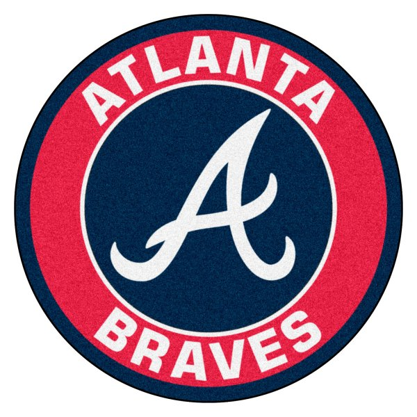 "FanMats® 18127 - MLB Atlanta Braves Round Nylon Area Rug with ""Script A"" Logo - CAMPERiD.com"
